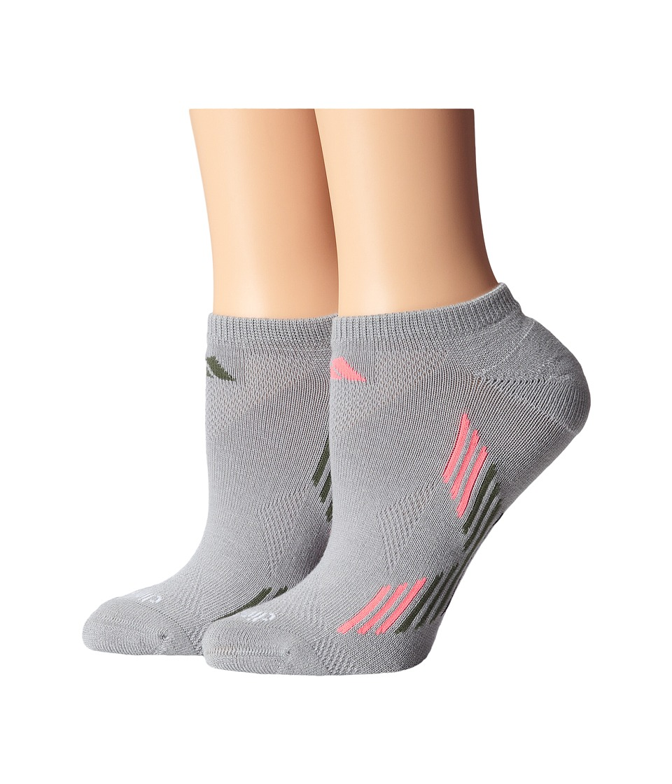 adidas - Climacool X 2-Pair No Show Sock (Mid Grey/Base Green/Flash Red/Black) Women's No Show Socks Shoes