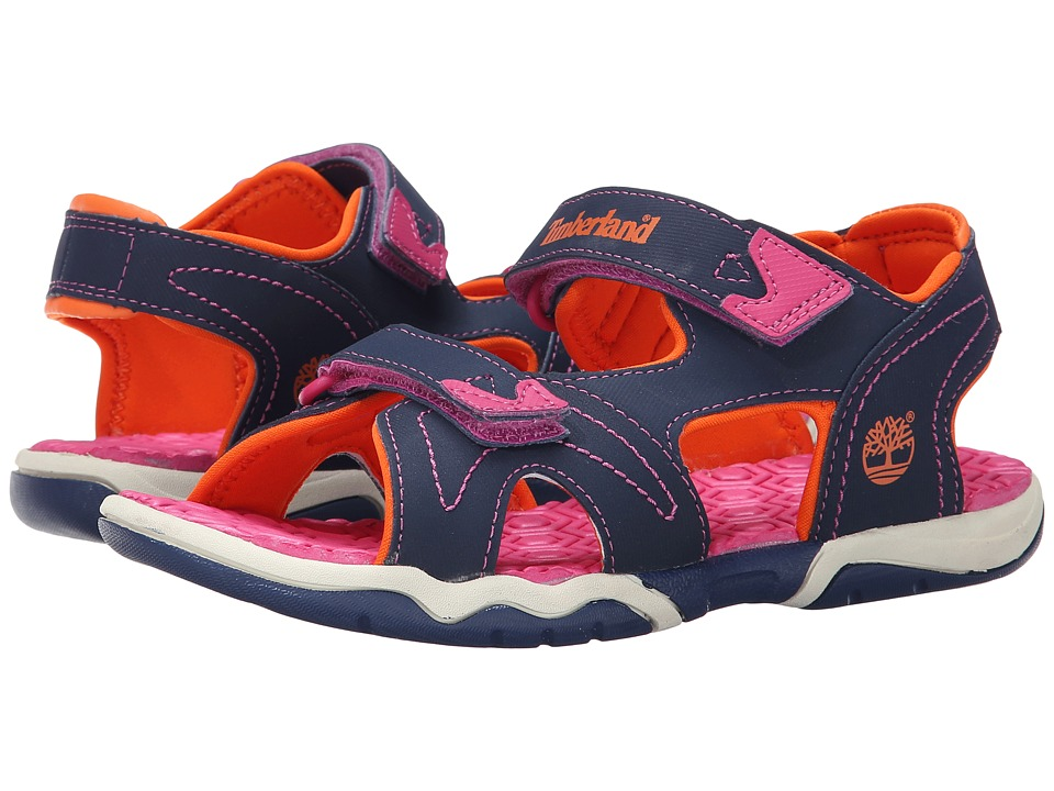 Timberland Kids - Adventure Seeker 2-Strap Sandal (Big Kid) (Navy/Pink/Orange) Girls Shoes