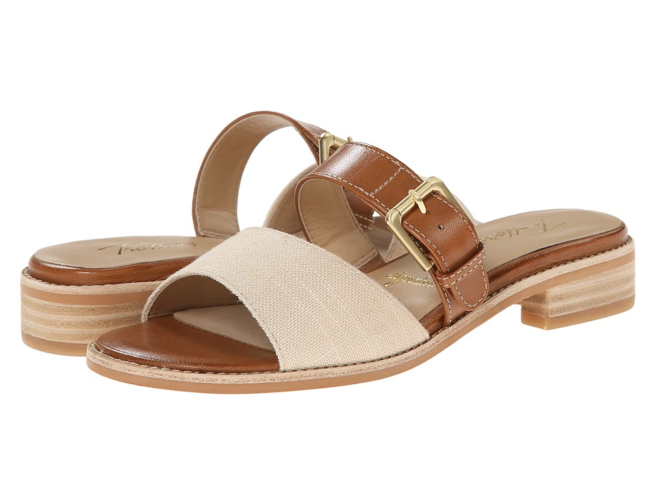 Trotters - Billie (Luggage/Natural Maple Veg Leather/Linen) Women's Sandals