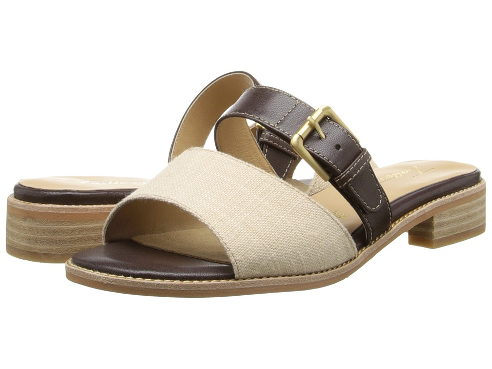 Trotters - Billie (Dark Brown/Natural/Natural Maple Veg Leather/Linen) Women's Sandals