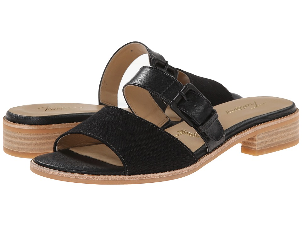 Trotters - Billie (Black/Natural Maple Veg Leather/Linen) Women's Sandals