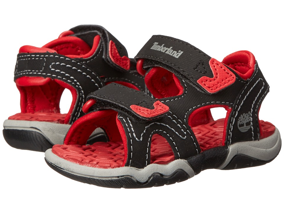 Timberland Kids - Adventure Seeker 2-Strap Sandal (Toddler/Little Kid) (Black/Red) Boys Shoes