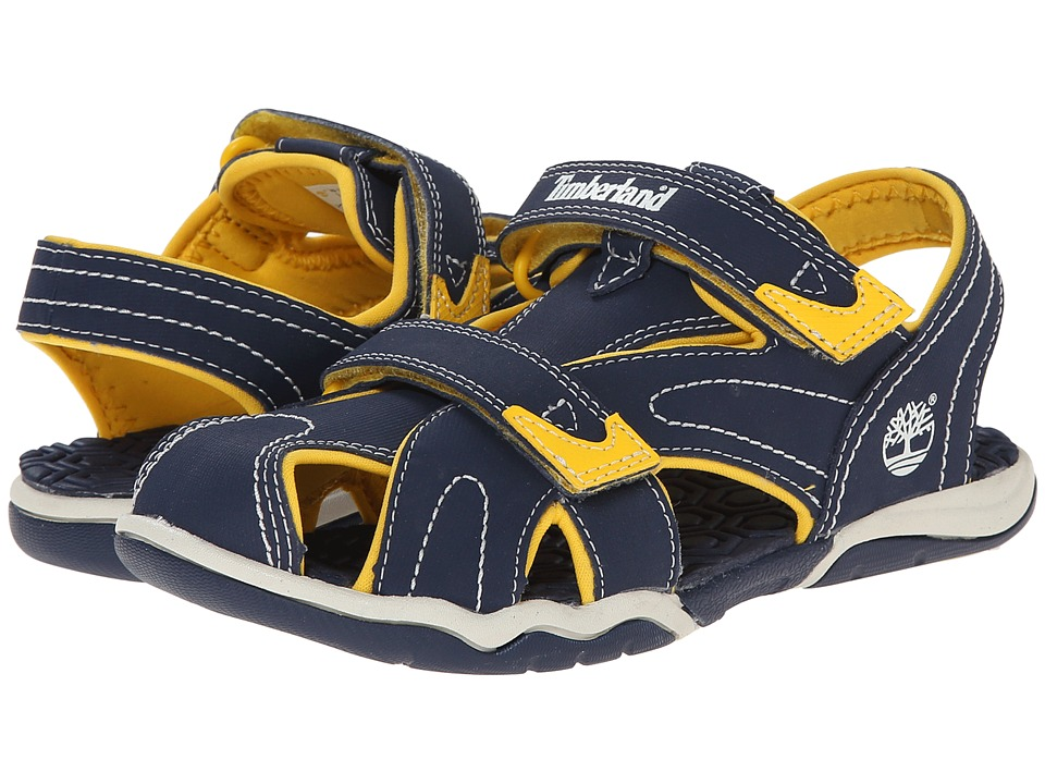 Timberland Kids - Adventure Seeker Closed Toe Sandal (Little Kid) (Navy/Yellow) Boys Shoes