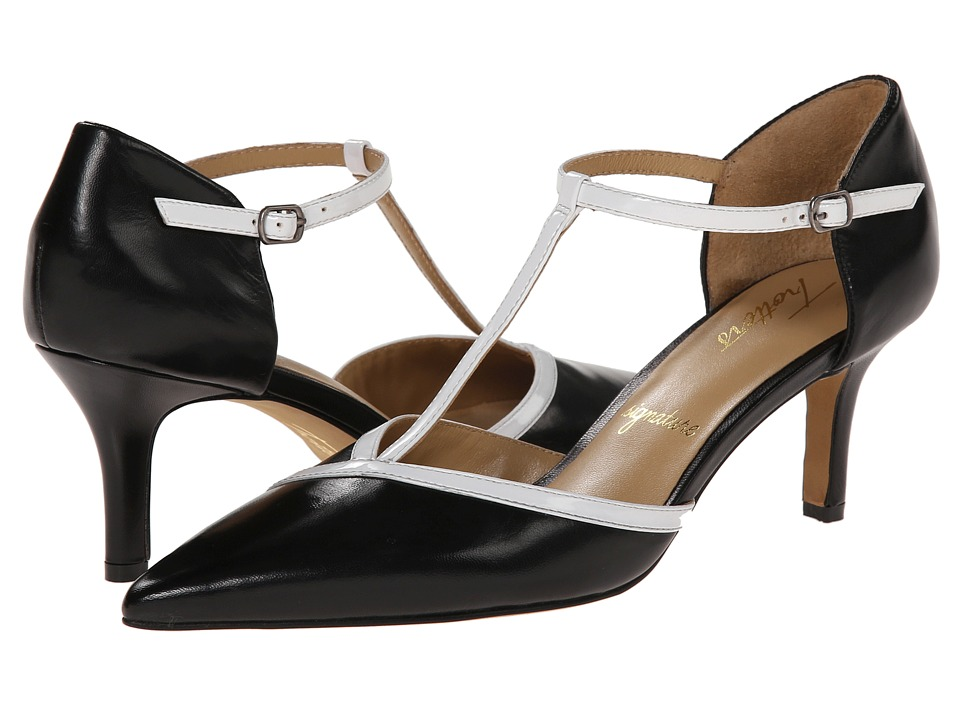 Trotters - Amelia (Black/White Glazed Kid Leather/Soft Patent Leather) High Heels
