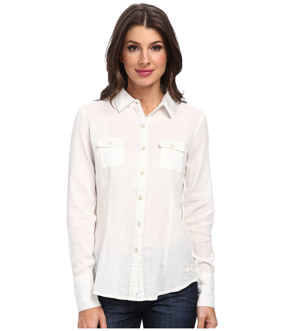 Margaritaville - Long Sleeve Solid Double Pocket Shirt (Snow White) Women's Long Sleeve Pullover