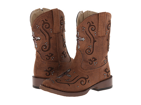 Roper Kids - Square Toe Crystal Cutout (Toddler) (Brown) Cowboy Boots