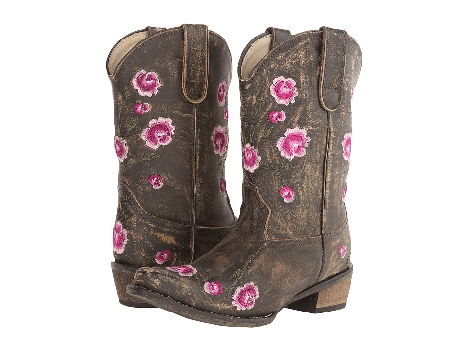 Roper Kids - Snip Toe Rose Embroidery (Toddler/Little Kid) (Brown) Cowboy Boots