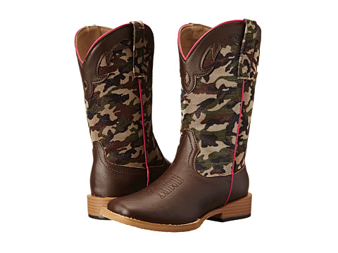 Roper Kids - Square Toe Piped Camo (Toddler/Little Kid) (Brown) Cowboy Boots