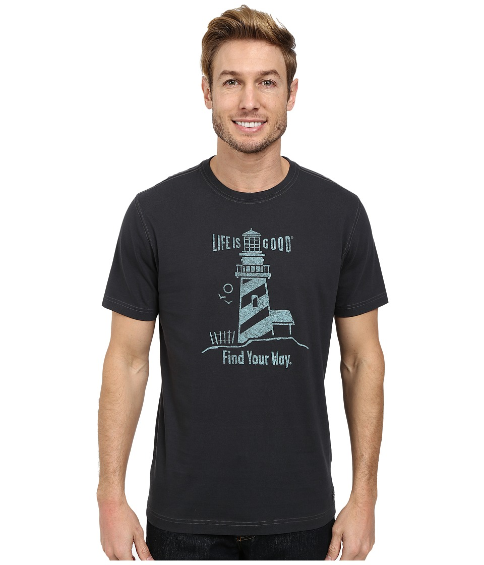 Life is good - Find Lighthouse Crusher Tee (Night Black) Men's T Shirt