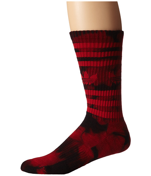 adidas - Original Tie Dye Heritage Crew (Power Red/Black Tie Dye) Men's Crew Cut Socks Shoes