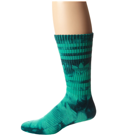 adidas - Original Tie Dye Heritage Crew (Surf Green/Surf Petrol Tie Dye) Men's Crew Cut Socks Shoes