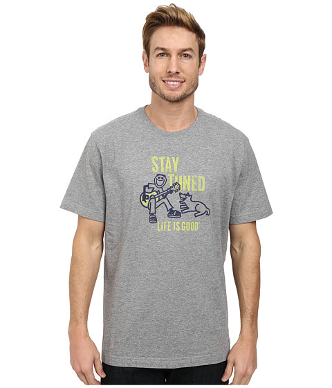 Life is good - Stay Tuned Strum Crusher Tee (Heather Grey) Men's T Shirt
