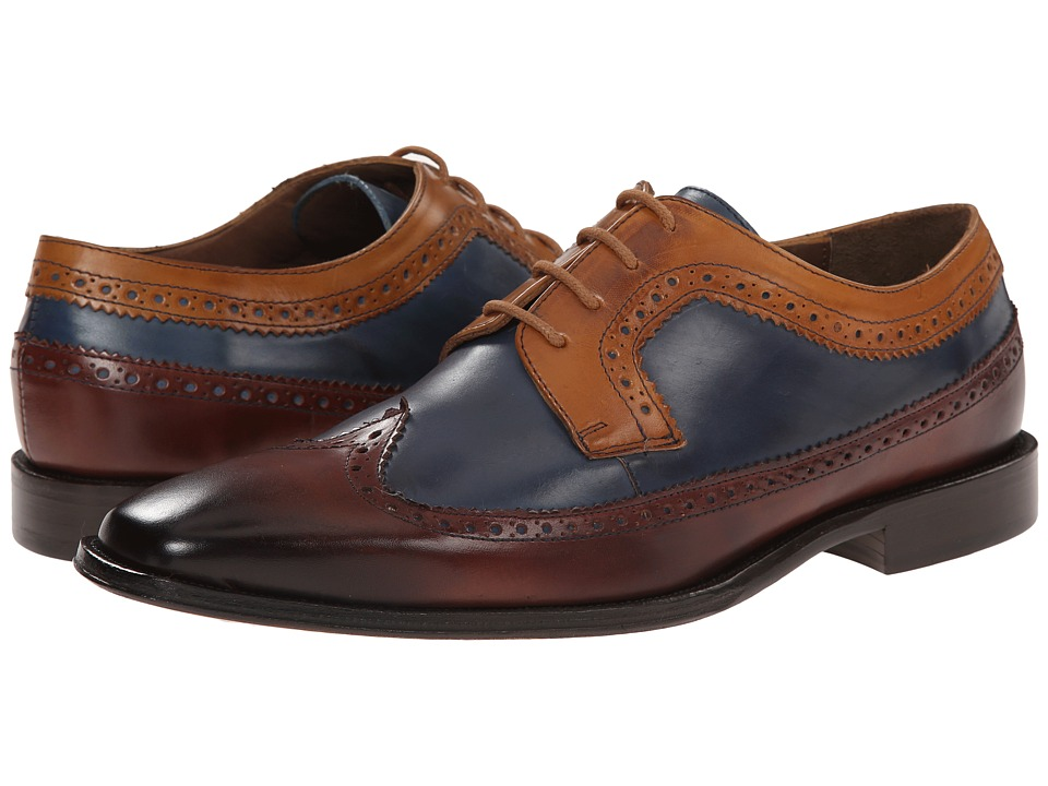 Messico - Chamarel (Yellow/Blue/Cognac Leather) Men's Dress Flat Shoes