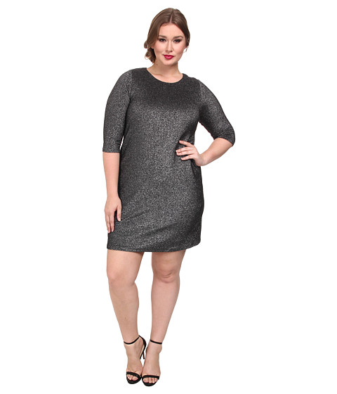 Karen Kane Plus - Plus Size Metallic Knit Dress (Black/Silver) Women