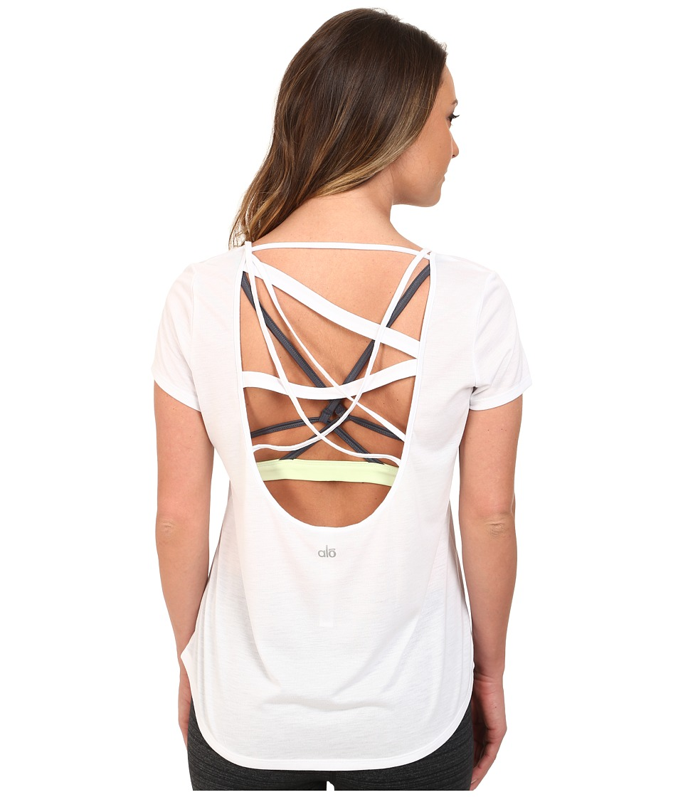 ALO - Draft Short Sleeve Top (White) Women's Clothing