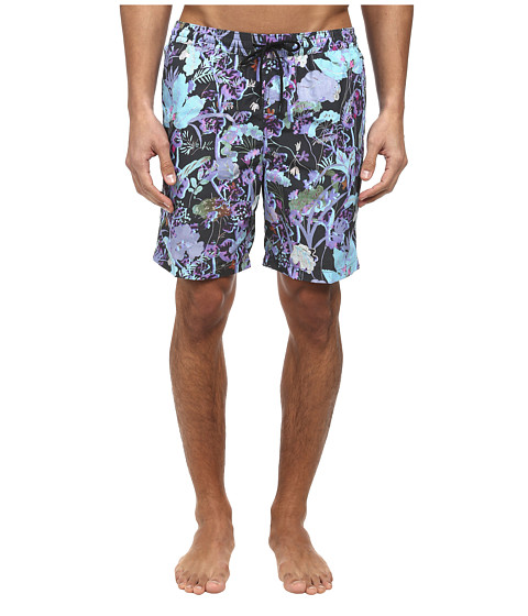 Paul Smith - Floral Long Classic Swim Short (Navy) Men's Swimwear