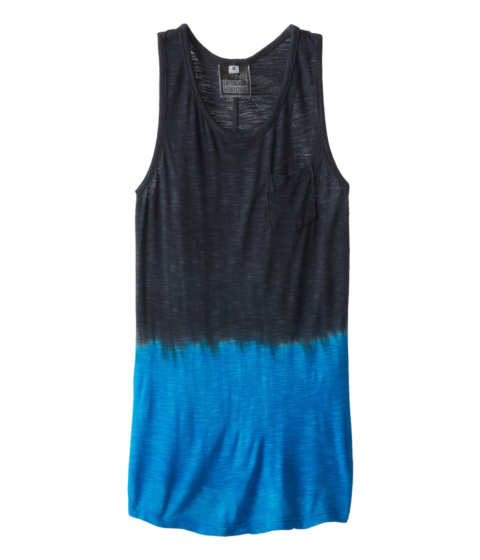 Young Fabulous & Broke Mini - Racer Tank (Little Kids/Big Kids) (Black/Blue Ombre) Girl's Sleeveless