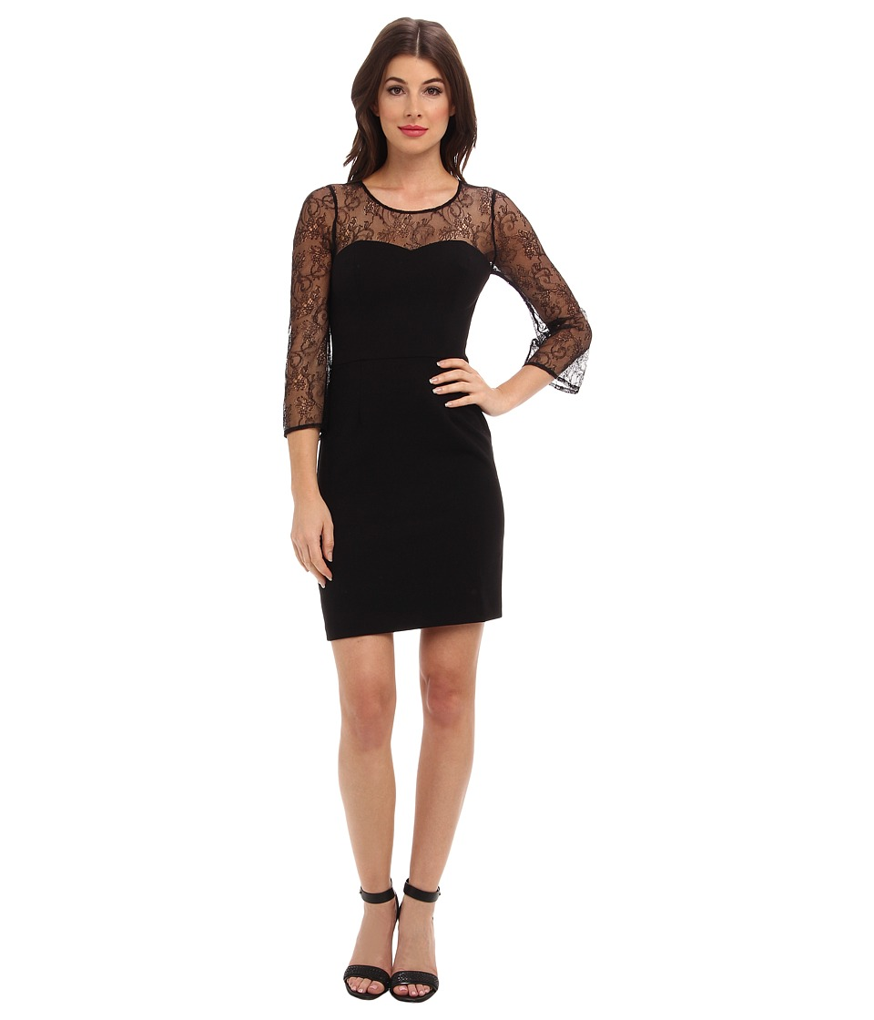 ABS Allen Schwartz - Crepe Woven Sheath with Lace Sleeves (Black) Women's Dress