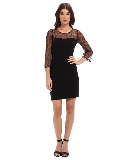 ABS Allen Schwartz - Crepe Woven Sheath with Lace Sleeves (Black) Women's Dress