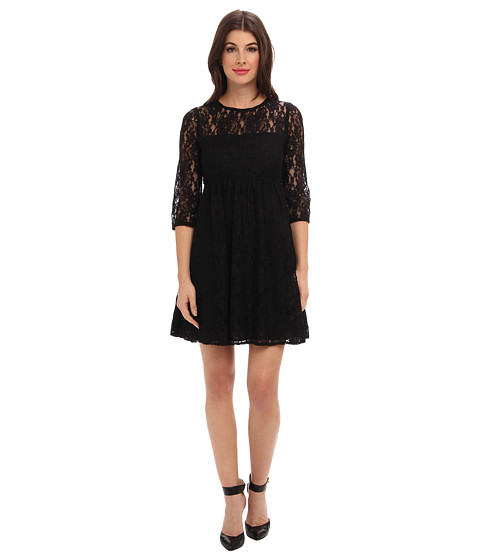 ABS Allen Schwartz - Baby Doll Lace Dress w/ Illusion Neck (Black) Women's Dress