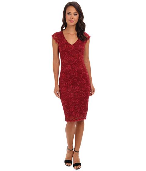 ABS Allen Schwartz - Deep V Stretch Lace Sheath (Rust) Women's Dress