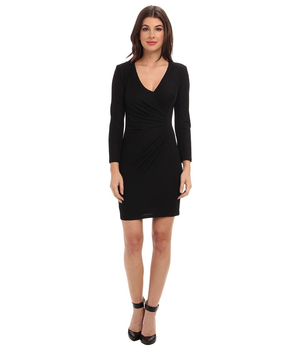 Image of ABS Allen Schwartz - Crepe Drape Front Faux Wrap Dress (Black) Women's Dress