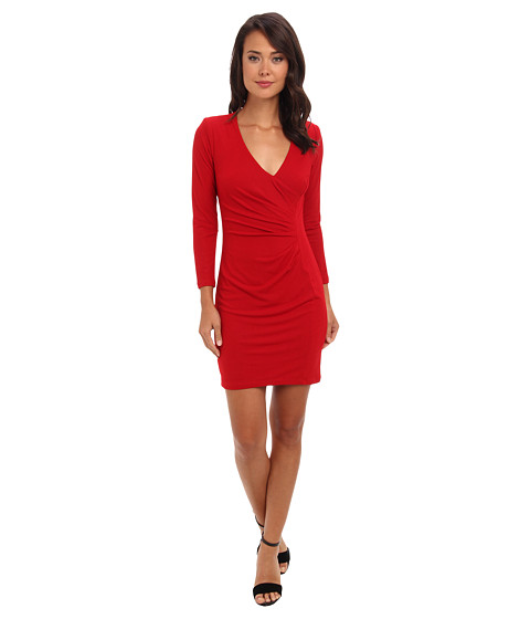 ABS Allen Schwartz - Crepe Drape Front Faux Wrap Dress (Red) Women's Dress