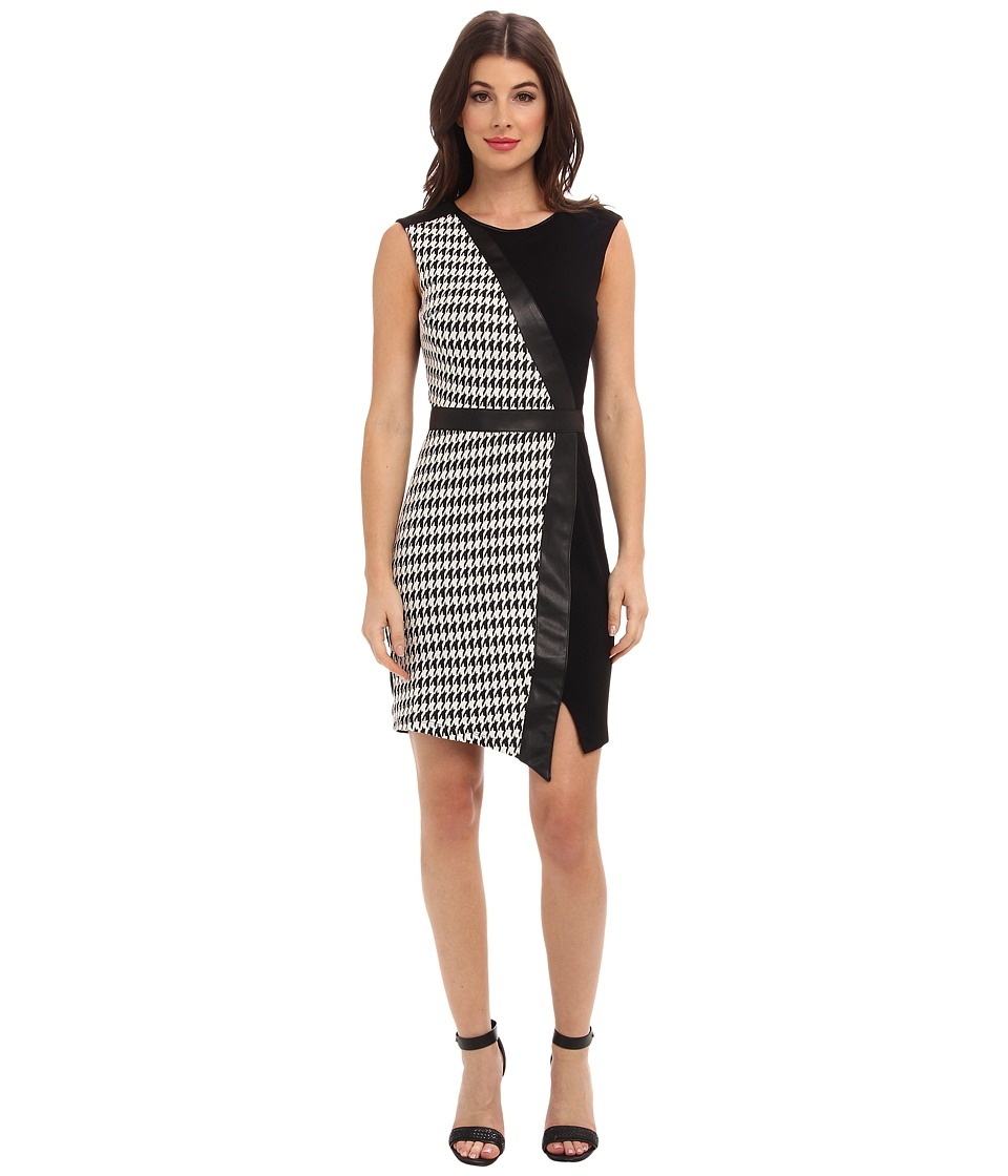 ABS Allen Schwartz - Houndstooth Double Knit Jacquard Sheath (Black/White) Women's Dress