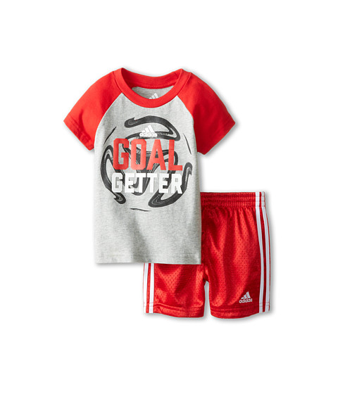 adidas Kids - Baller Set (Infant) (Grey/Light Scarlet) Boy's Active Sets
