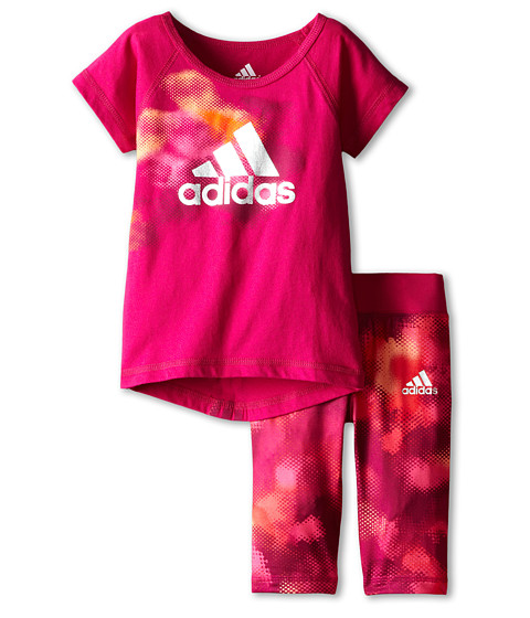 adidas Kids - Camo Tight Set (Infant) (Pow Pink) Girl's Active Sets