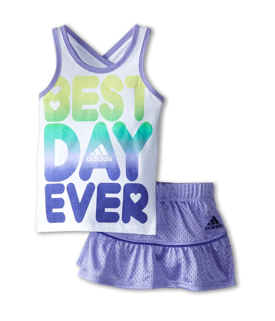 adidas Kids - Best Day Set (Infant) (White/Purple) Girl's Active Sets