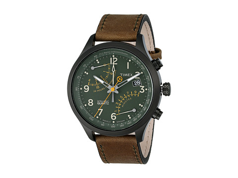 Timex - Intelligent Quartz Fly-Back Chronograph Leather Strap Watch (Olive/Black) Chronograph Watches