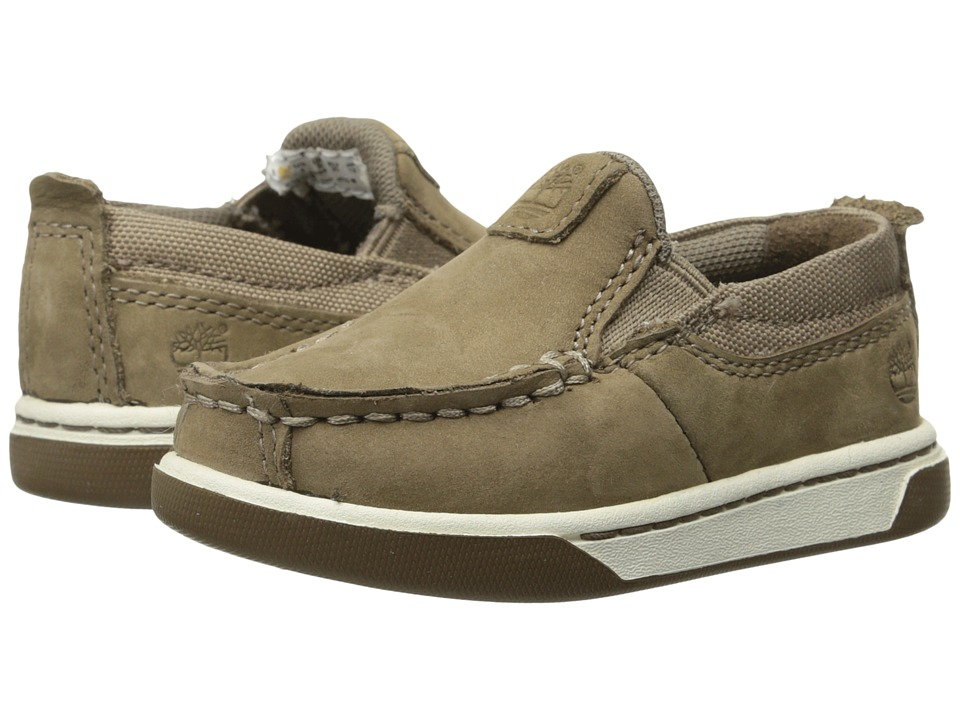 Timberland Kids - Earthkeepers Groveton Leather and Fabric Slip-On (Toddler/Little Kid) (Greige Kid Skin) Boys Shoes