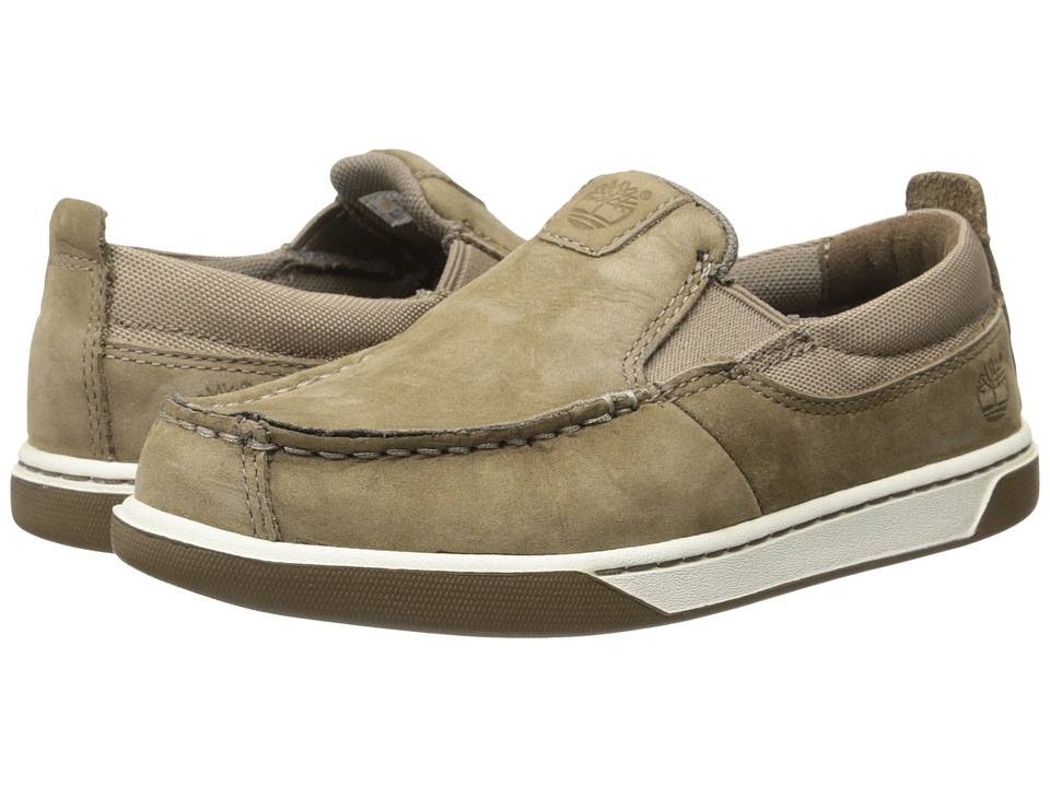 Timberland Kids - Earthkeepers Groveton Leather and Fabric Slip-On (Little Kid) (Greige Kid Skin) Boys Shoes