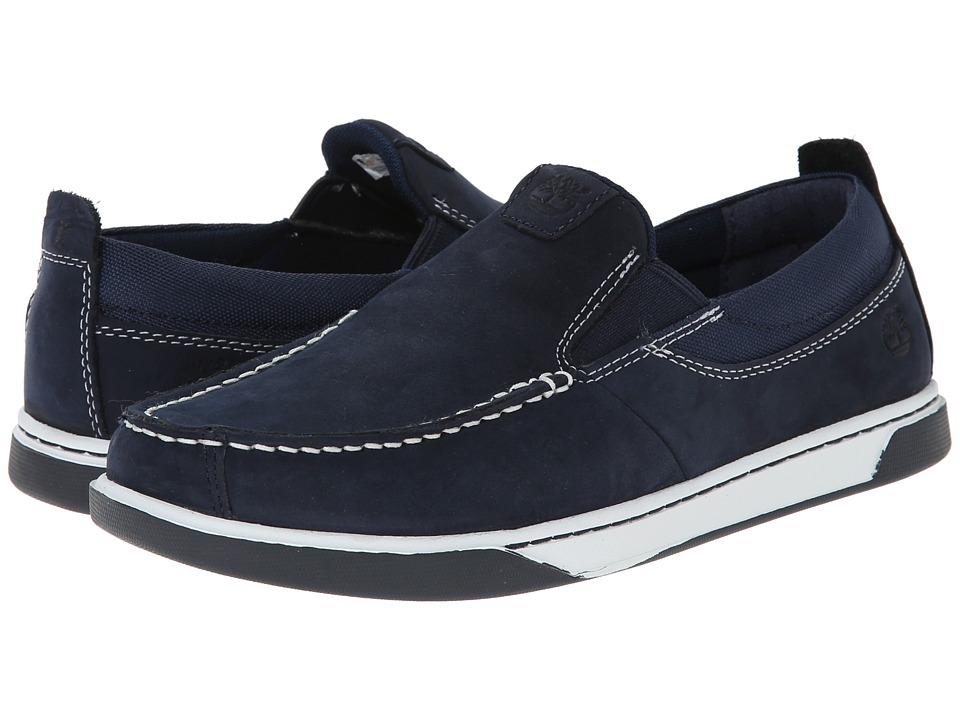 Timberland Kids - Earthkeepers Groveton Leather and Fabric Slip-On (Big Kid) (Navy) Boys Shoes