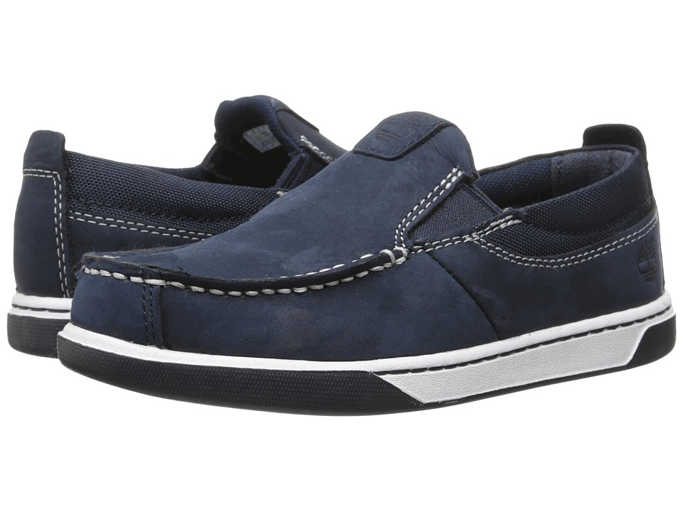 Timberland Kids - Earthkeepers Groveton Leather and Fabric Slip-On (Little Kid) (Navy) Boys Shoes