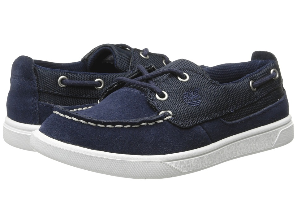 Timberland Kids - Earthkeepers(r) Groveton Leather and Fabric Boat Oxford (Toddler/Little Kid) (Navy) Boys Shoes