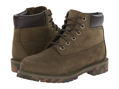 Timberland Kids - 6 Premium Waterproof Boot (Little Kid) (Olive/Camo Outsole) Kids Shoes
