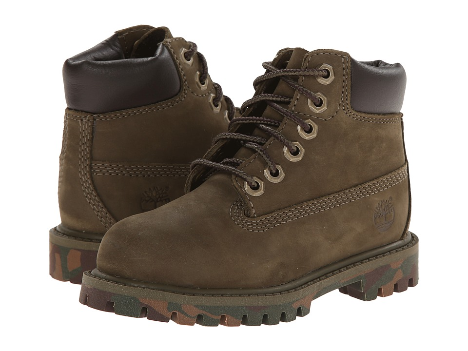 Timberland Kids - 6 Premium Waterproof Boot (Toddler/Little Kid) (Olive/Camo Outsole) Kids Shoes