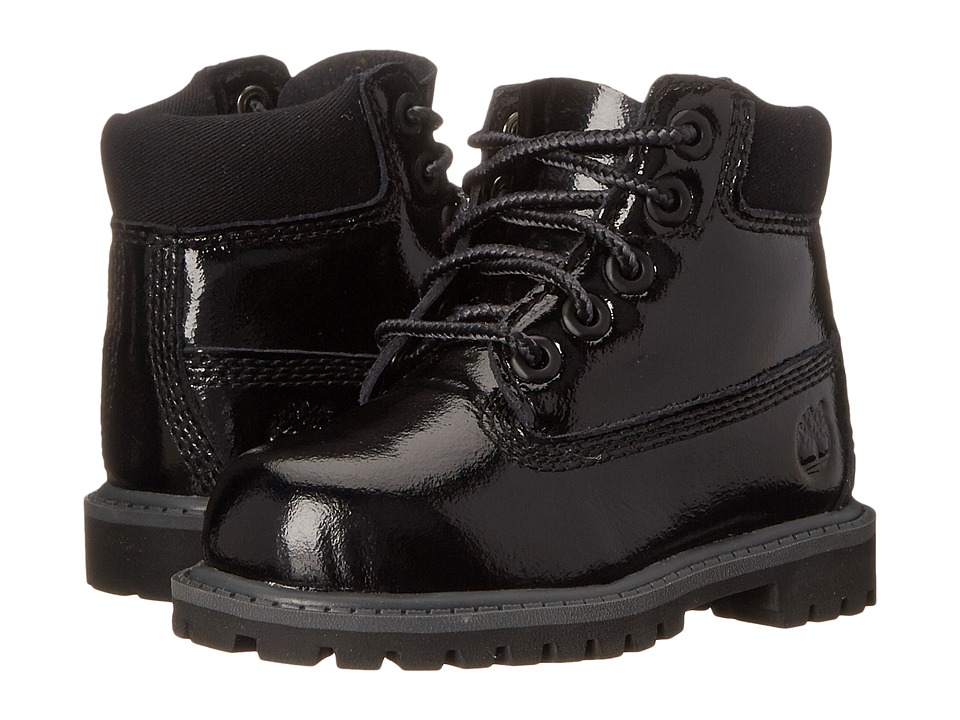 Timberland Kids - 6 Premium Waterproof Boot (Toddler/Little Kid) (Black Shine) Girls Shoes