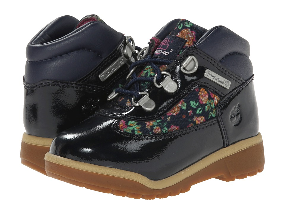 Timberland Kids - Field Boot Leather and Fabric (Toddler/Little Kid) (Navy Shine/Floral) Girls Shoes