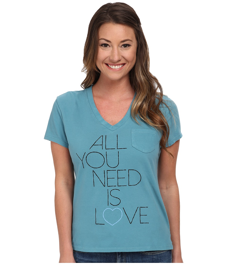 Life is good - Pocket Sleep Vee (Dusty Blue) Women's T Shirt