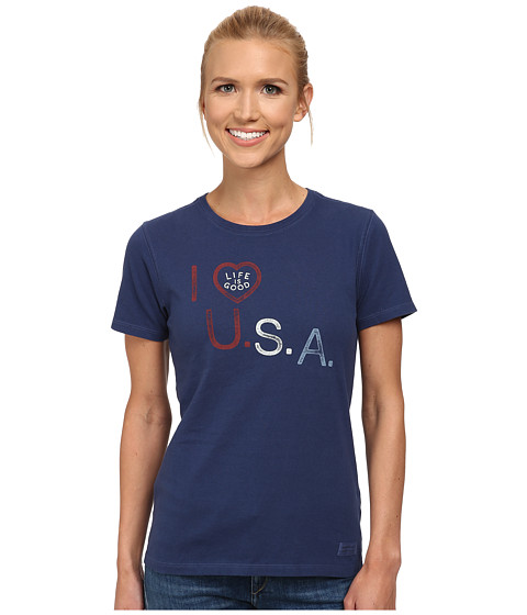Life is good - I Heart USA Crusher Tee (Darkest Blue) Women's T Shirt