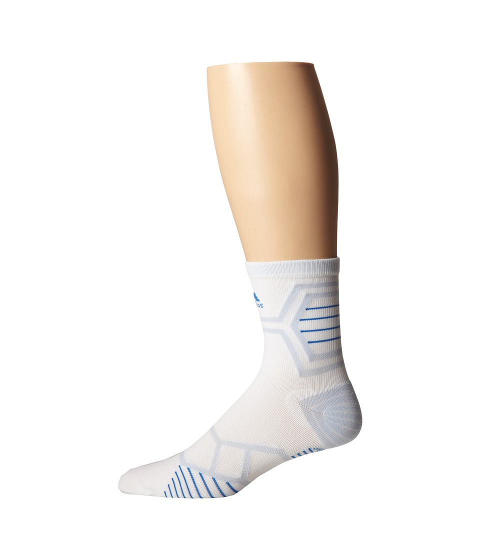 adidas - Energy Running Single Mid-Crew (White/Bright Royal/Pearl Opal) Crew Cut Socks Shoes
