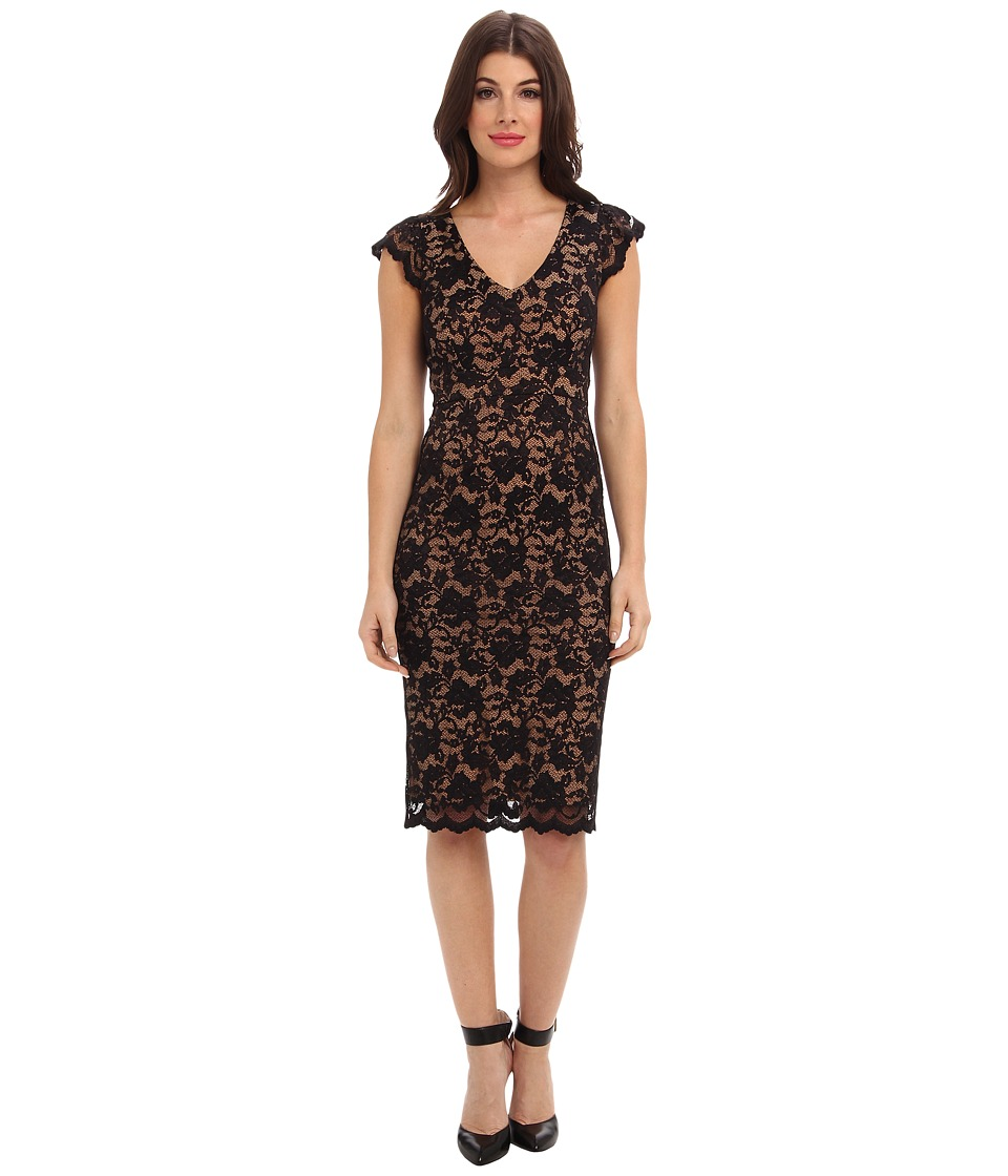 ABS Allen Schwartz Deep V Stretch Lace Sheath (Black/Camel) Women