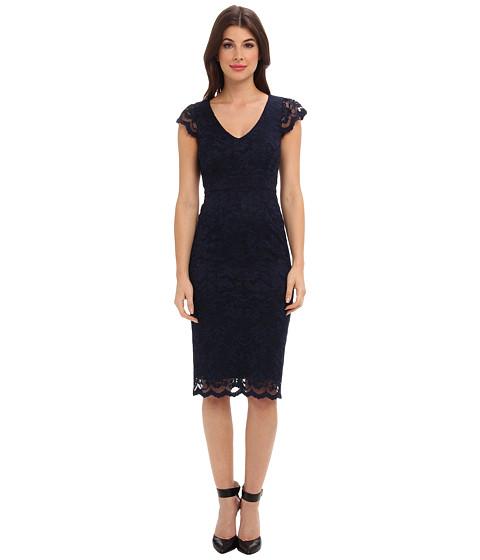 ABS Allen Schwartz - Deep V Stretch Lace Sheath (Midnight) Women's Dress