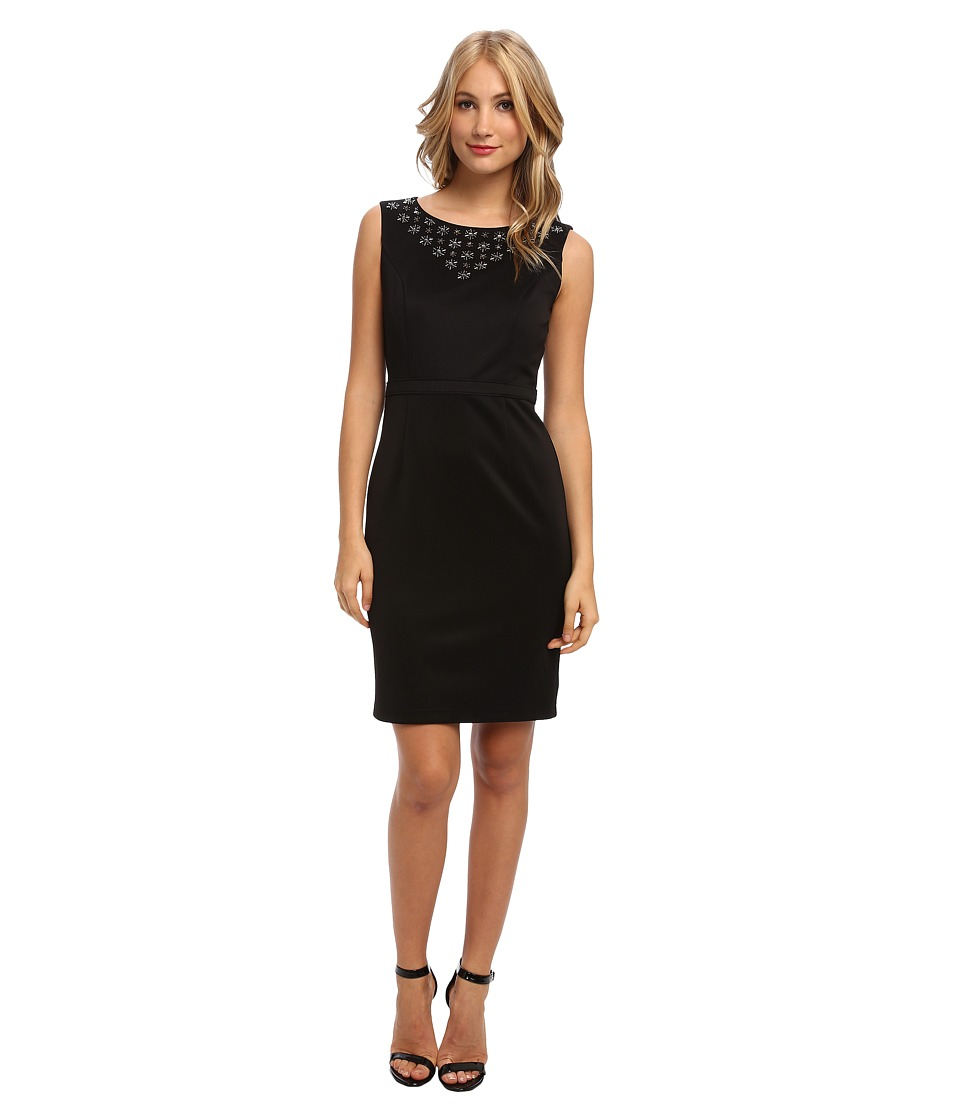 Ellen Tracy - Scuba Sheath with Embellished Neckline (Black) Women's Dress