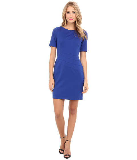 Ellen Tracy - Ponte 3/4 Sleeve with Waist Piping (Cobalt/Cobalt/Academy) Women