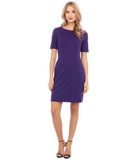 Ellen Tracy - Ponte 3/4 Sleeve with Waist Piping (Purple) Women's Dress