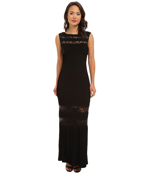 Calvin Klein - Gown with Lace Cut Out Skirt (Black) Women's Dress